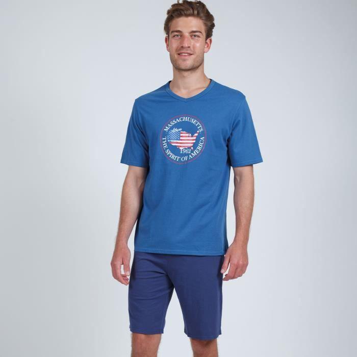 ATHENA Pyjama court col V Eco Pack Bleu Homme