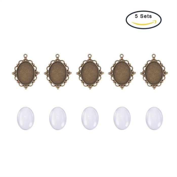 PandaHall - Lot De 5 Kits Supports Cabochon Pendentif Ovale Dentelle en Metal + Cabochons Ovales Verre 40x30mm pour DIY Bijoux