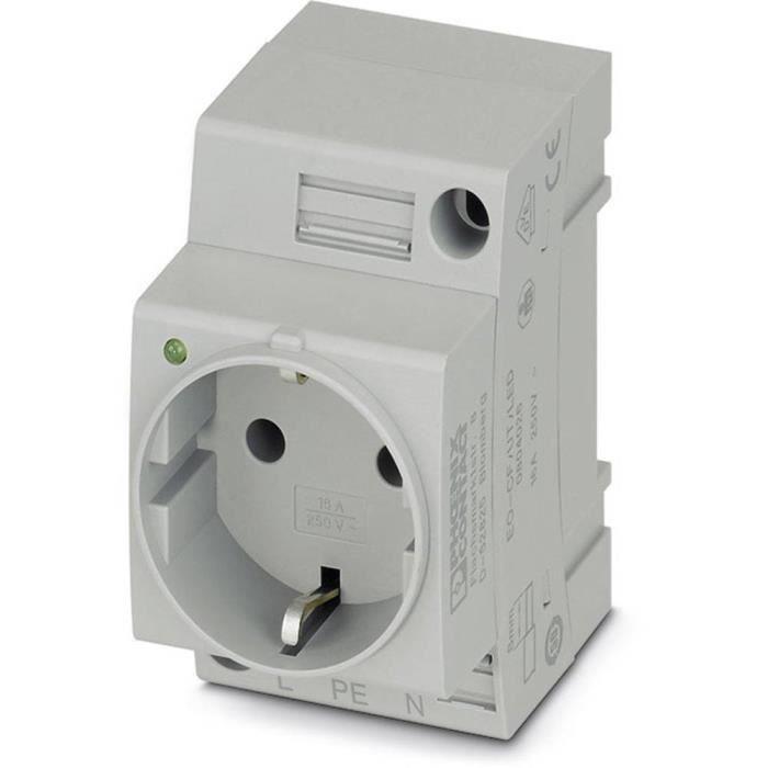 Prise 2P+T modulaire Phoenix Contact EO-CF/UT/LED 804026 gris (L x l) 60 mm x 45 mm 1 pc(s)