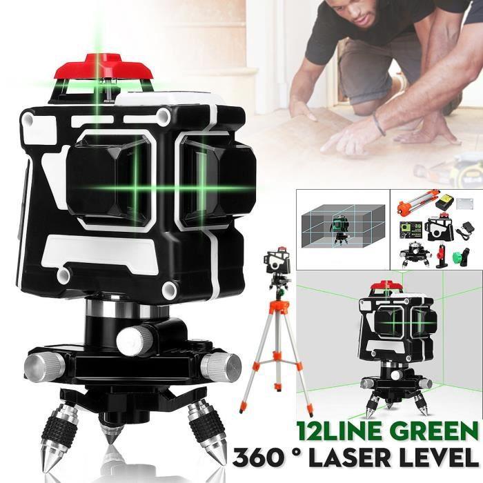 TEMPSA 12 Ligne Vert 808nm 3D Niveau Laser 360° Automatique Outil Mesure + Trépied