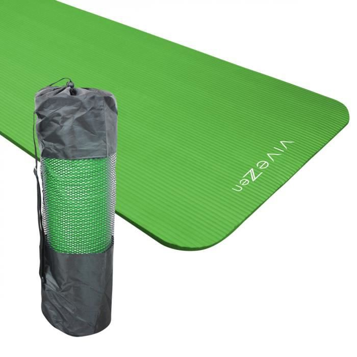 Tapis de yoga, de gym, d'exercices 180 x 60 x 1,2 cm + sac de transport - Vert
