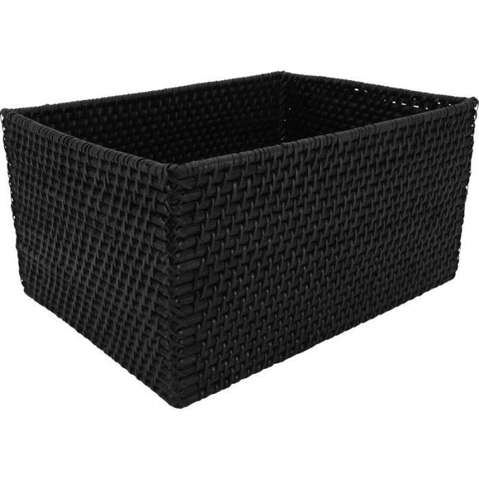 corbeille de rangement en rotin noir 34x26x18cm achat. Black Bedroom Furniture Sets. Home Design Ideas