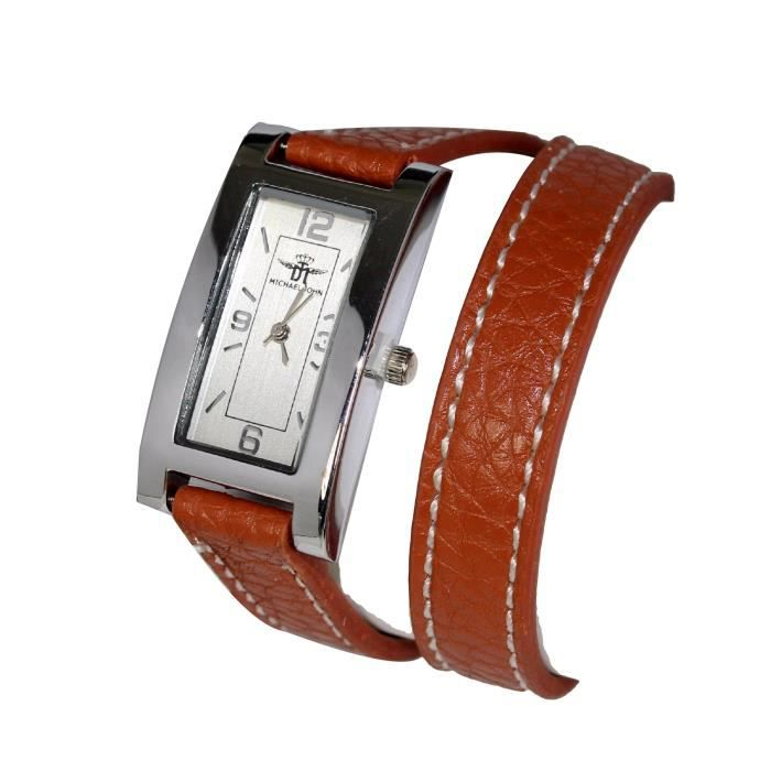 montre bracelet femme double tour cuir marron michael john