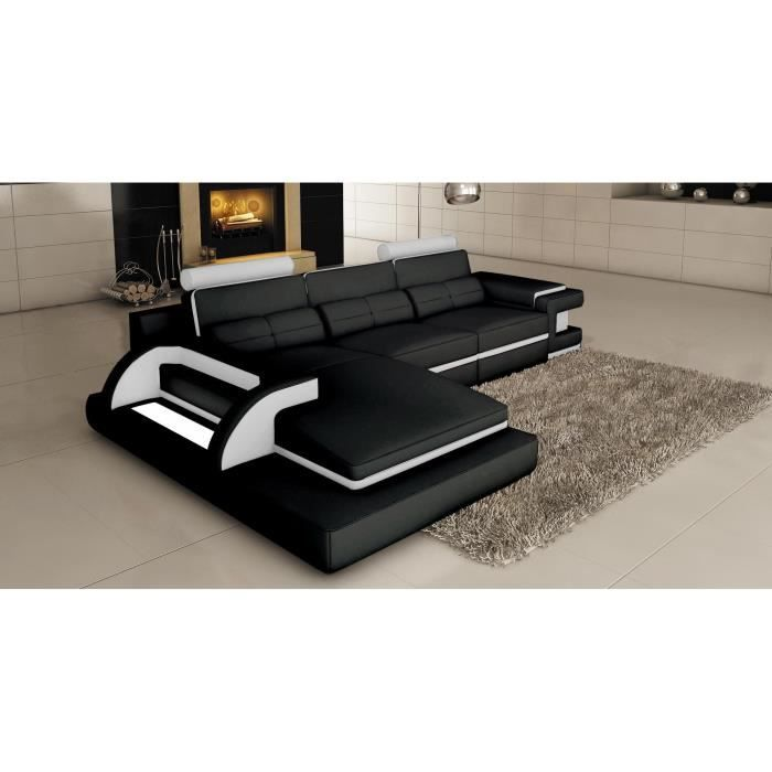 canap d 39 angle cuir noir et blanc design avec lumi re. Black Bedroom Furniture Sets. Home Design Ideas