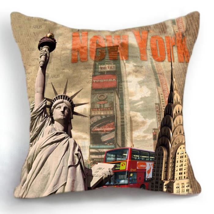 housse de coussin new york times square 45x45 cm achat. Black Bedroom Furniture Sets. Home Design Ideas