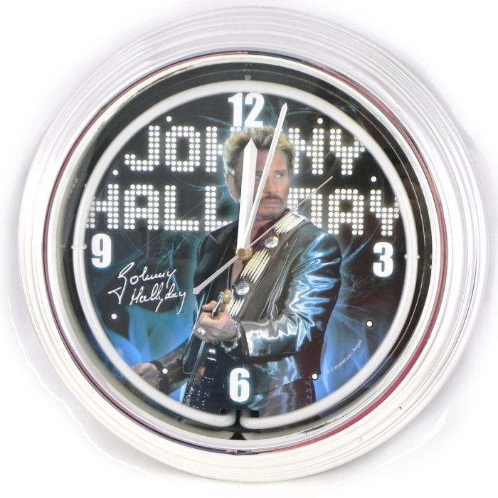 Horloge murale n on johnny halliday bleu achat vente for Decoration murale neon