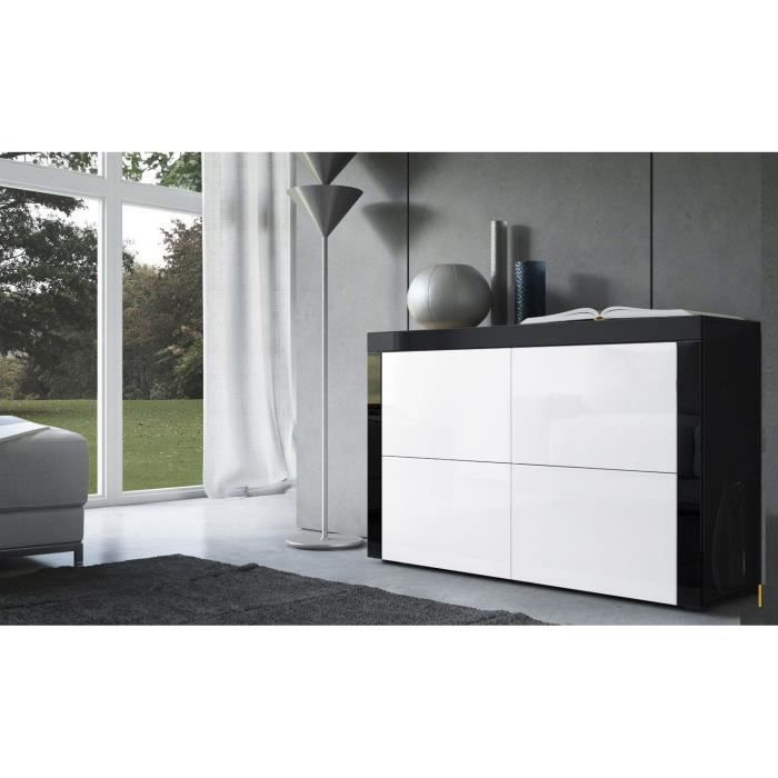commode laqu e noir et blanc achat vente commode de chambre commode laqu e noir et blan. Black Bedroom Furniture Sets. Home Design Ideas