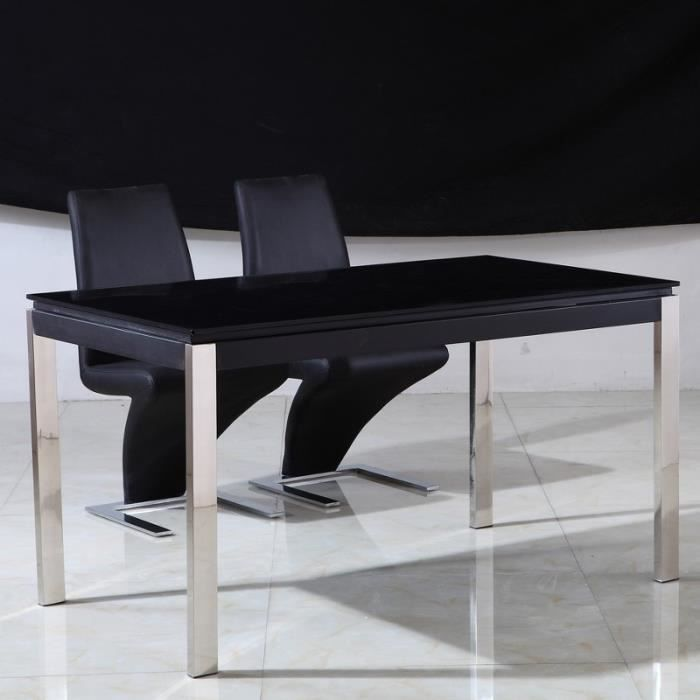 table en verre noir et pieds inox leros achat vente table basse table en verre noir et pied. Black Bedroom Furniture Sets. Home Design Ideas