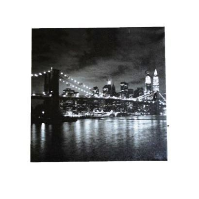 tableau lumineux led pont de brooklyn 28 x 28 achat vente tableau toile cdiscount. Black Bedroom Furniture Sets. Home Design Ideas