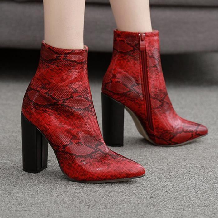 épais talon Bottes femme à cheville pointu rouge Bout Chaussures Zipper serpent Bottes 8On0wXNkPZ