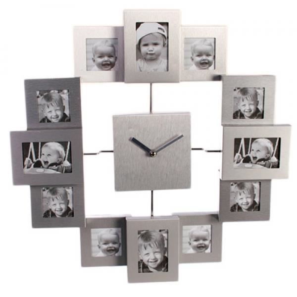 horloge murale tout aluminium avec 12 cadres photo achat vente cadre photo aluminium. Black Bedroom Furniture Sets. Home Design Ideas