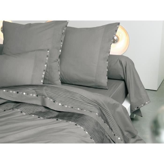 housse de couette percale brod e 240x260 cm seattle par. Black Bedroom Furniture Sets. Home Design Ideas