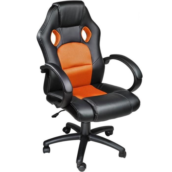 Chaise de bureau Fauteuil de bureau RACING SPORT Noir Orange