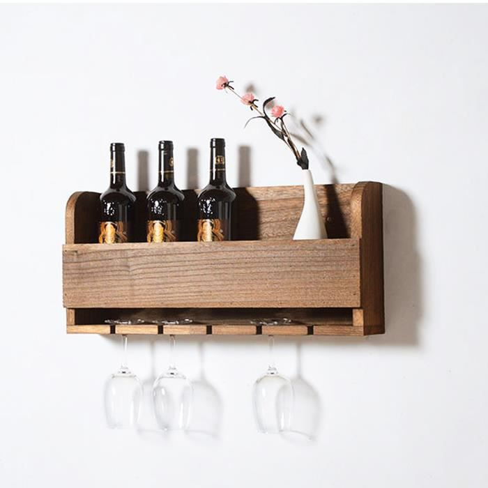 support bouteilles mural en bois pour bouteilles de vin. Black Bedroom Furniture Sets. Home Design Ideas