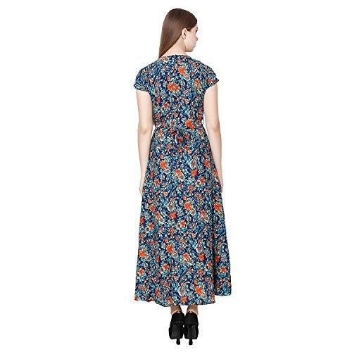 Womens Floral Printed Short Sleeve V Neck Maxi Dress COYJ2 Taille-46