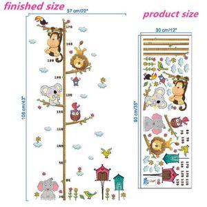 Jungle Animaux Lion Singe Hibou Hauteur Mesure Sticker Mural pour Enfants Chambres Croissance Graphique Nursery Room Decor Stickers Muraux Art