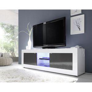 MEUBLE TV Meuble TV blanc et gris laqué design ARIEL 3 L 181