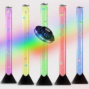 LAMPE A POSER 90cm Tour a Bulles Illuminé en Noir à couleurs LED