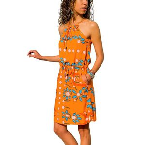 ROBE Robe Femme Boheme Style Robe Courte Sans Manches