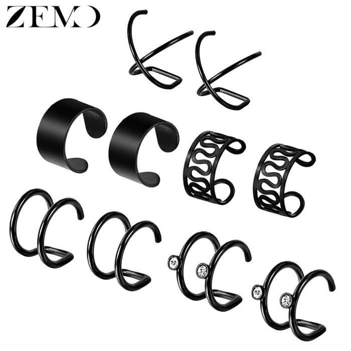5 – boucles d'oreilles à Clip pour femme, faux bijoux de Piercing, couleur or et noir, manchette en acier inoxydable, [DC87823]