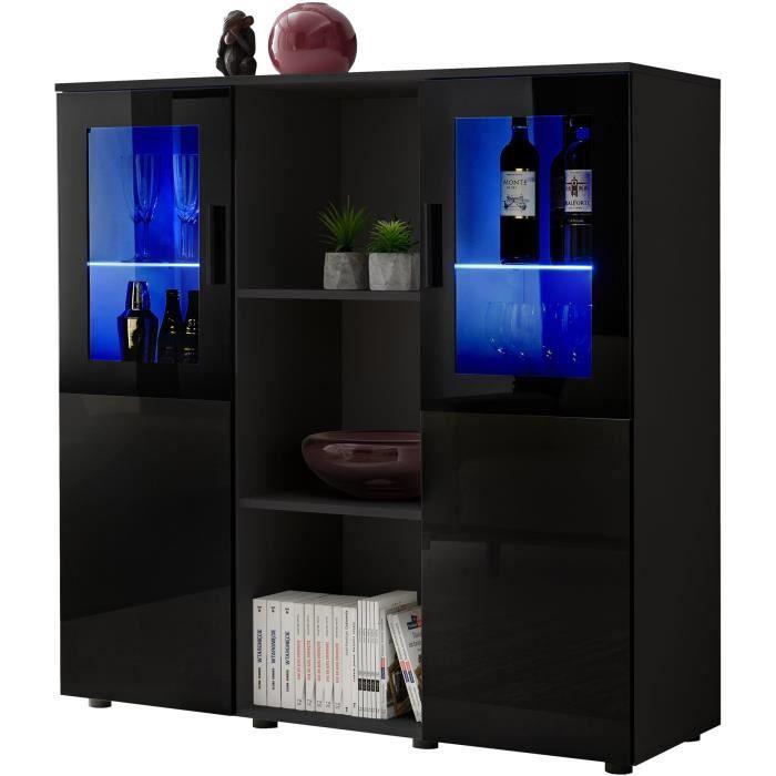 Extreme Furniture Buffet Dream - LED bleues - Noir Brillant & Noir - Façades en Brillant - L120cm x H125cm x P41cm