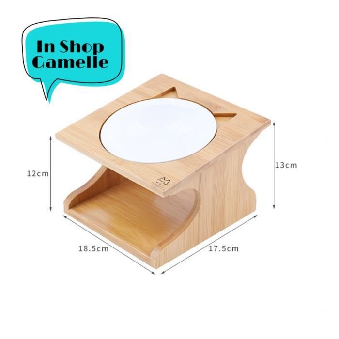 Gamelle Chat Sur élevée de Parfait Hauteur 12cm, Gamelle en Ceramique avec Support--Elevéen en Bois