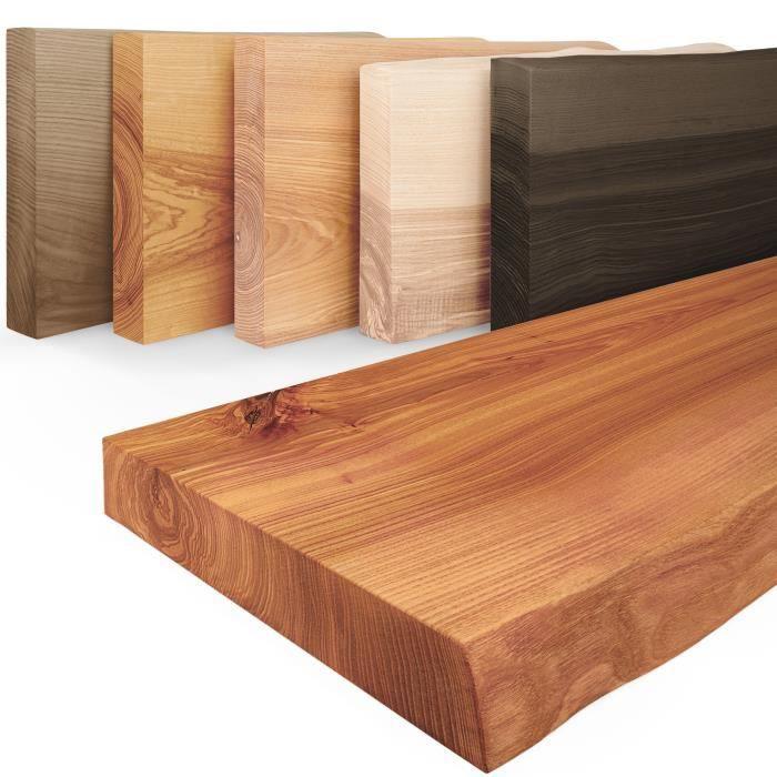 LAMO MANUFAKTUR 50cm Étagère murale en bois massif - rangement - industriel - bords naturels - vendue seule - frêne foncé
