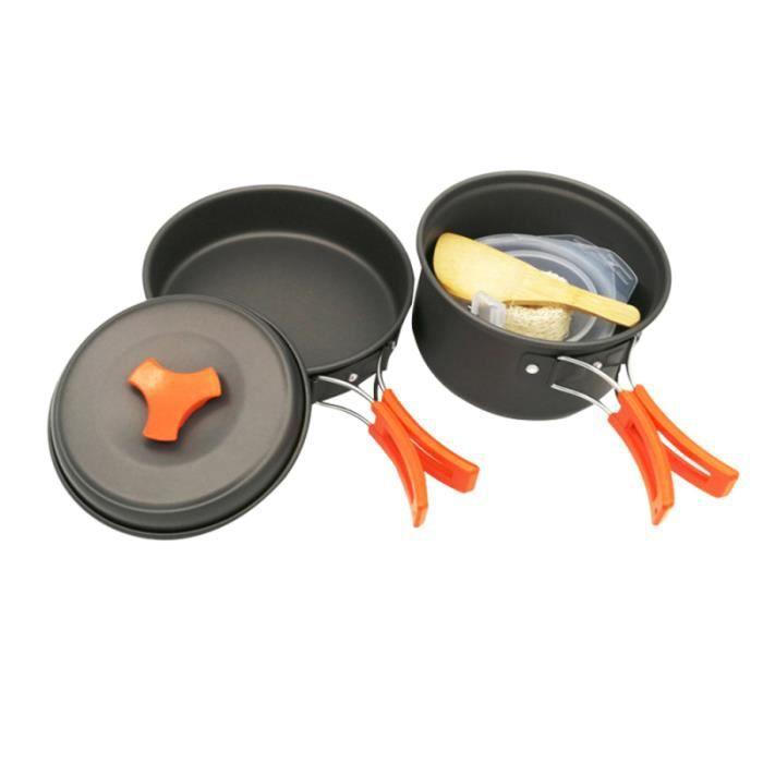 8 pièces ensemble de batterie de cuisine de couverts de Barbecue portable antiadhésif de casserole de cuisson en plein COOKWARE