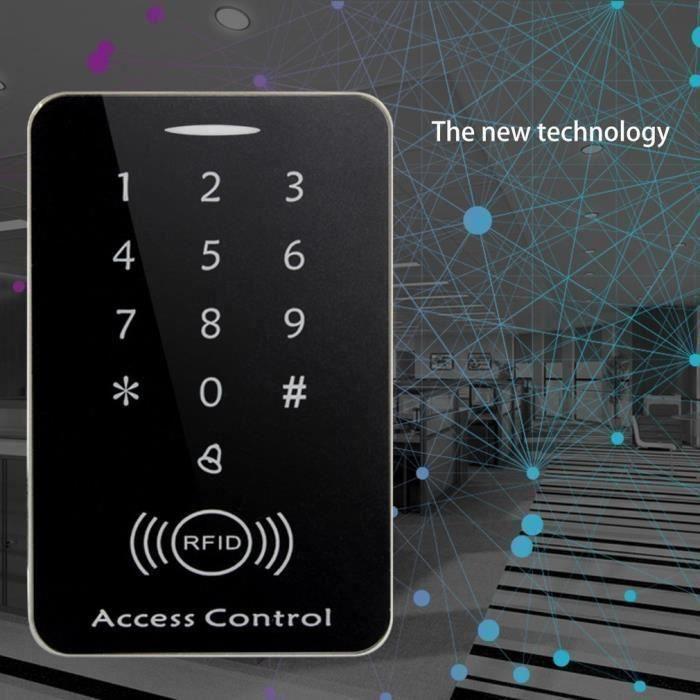 Getek Lecteur de cartes de contrôle d'accès autonome d'écran tactile de M203SE RFID avec les clés 10pcsNoir