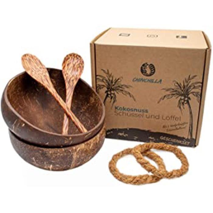 ® Pack De 2 Bols En Noix De Coco + Cuillère En Bois – Buddha Bowl 100% Naturel, Sans Plastique Et Fait Main Pour Votre Muesli, Vos S