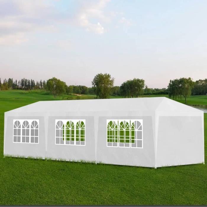 QJQRXJ® Tente Réception Tonnelle de jardin - Tente Pavillon Jardin Barnum 3 x 9 m Blanc ZKTEFT