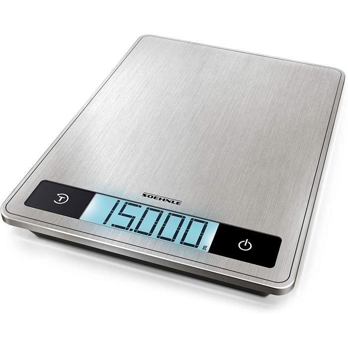 Soehnle Page Profi 200 Balance de cuisine multifonctions compacte & élégante, balance culinaire précision 1 g, pèse aliment...
