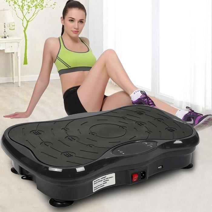 Plateforme Vibrante Oscillante Fitness 200W NOIR avec Écran LCD Audio Bluetooth 53*32,5*12cm