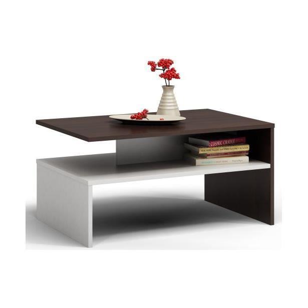 Table basse moderne 90x50x45 Boston Wengé-Blanc
