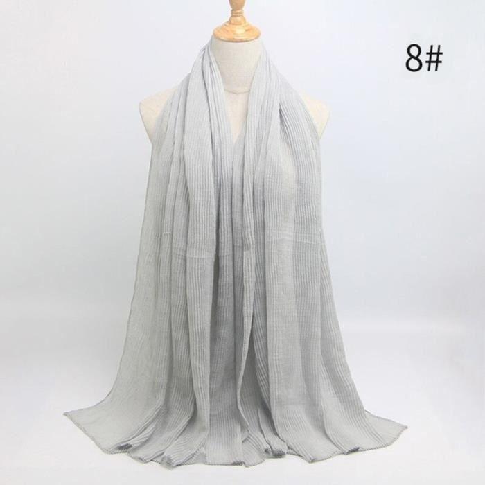 Foulard hijab en coton froissé, écharpe douce, écharpe chaude, écharpe chaude, châle, 25 couleurs, Design hiver, tendanc DY5167