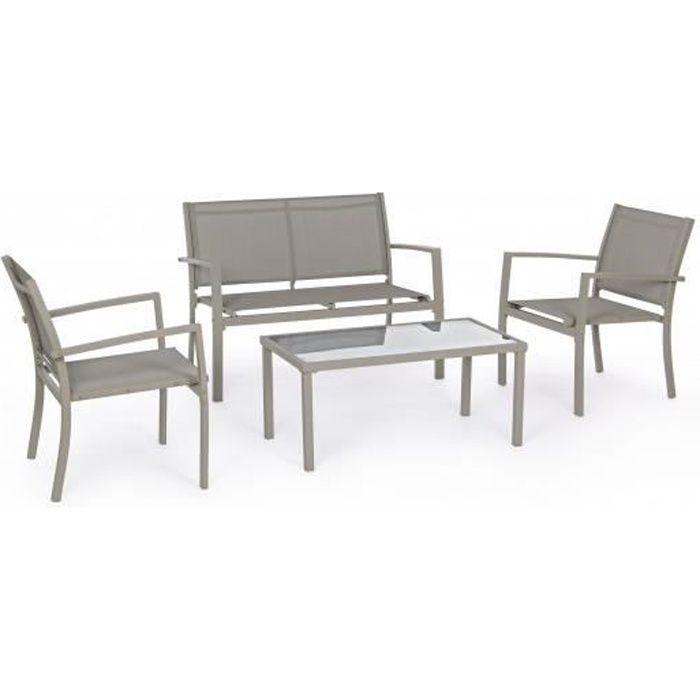 Canapé extérieur Trent canapé + 2 fauteuils + table taupe