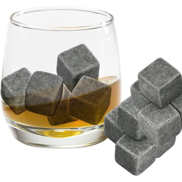 SAC A GLACON Lot de 9 glaons pierre pour le whisky Ils remplacent les glaons normaux dans votre verre de whisky et sont livrs av619