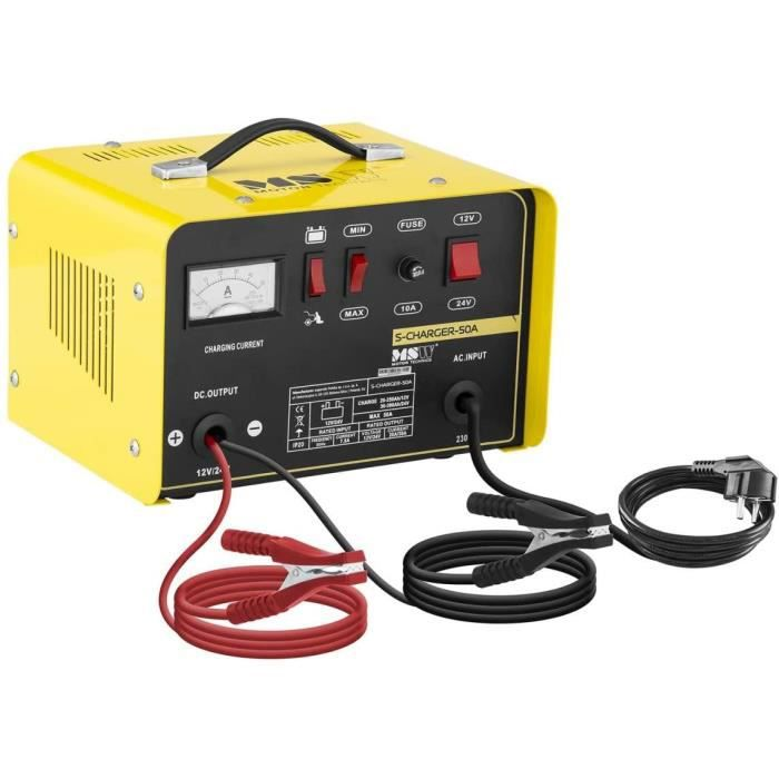 MSW Chargeur de Batterie Auto Aide au Démarrage pour la Voiture S-CHARGER-50A (12-24 Volts, 20-30 ampères, accumulateur au Plom A109