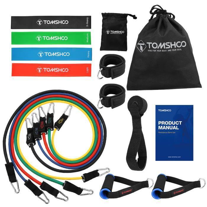 TOMSHOO 17 Pcs Kit de Fitness Bandes Elastiques de Fitness et Bandes Résistance pour sport exercice