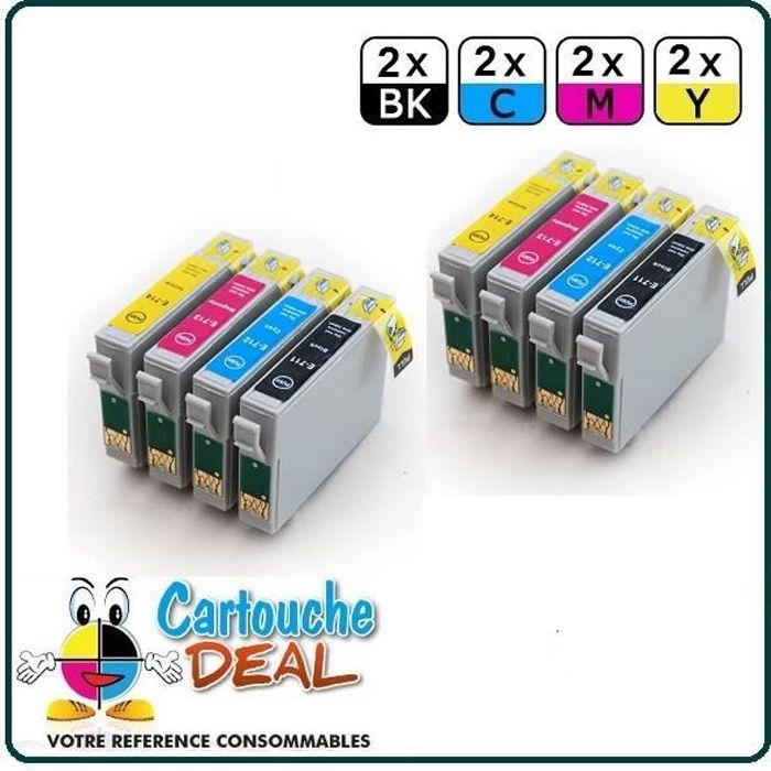 x8 Epson Stylus SX400 SX405 SX410 SX415 SX510W Cartouche générique compatible