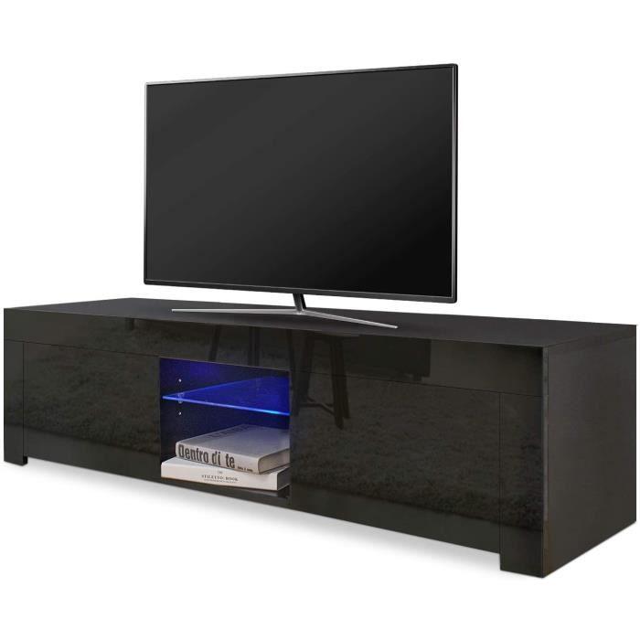 Dripex Meuble TV moderne décor Noir avec étagères et placards de Rangement - Support télévision - 130 cm