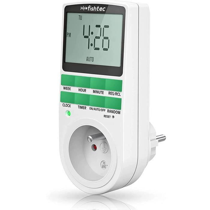 Fishtec® Programmateur Prise Electrique Hebdomadaire - Affichage Digital Grand écran - Economies d'énergie