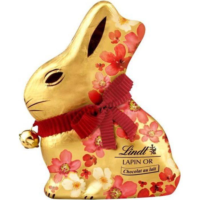 Chocolat Lindt Lapin Or Lait Fleurs 200g pour Pâques