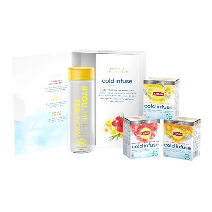 LIPTON Coffret Infuse à froid & Gourde - Boisson 3 goûts : Hibiscus Grenade, Mangue Rooibos et Citron Camomille