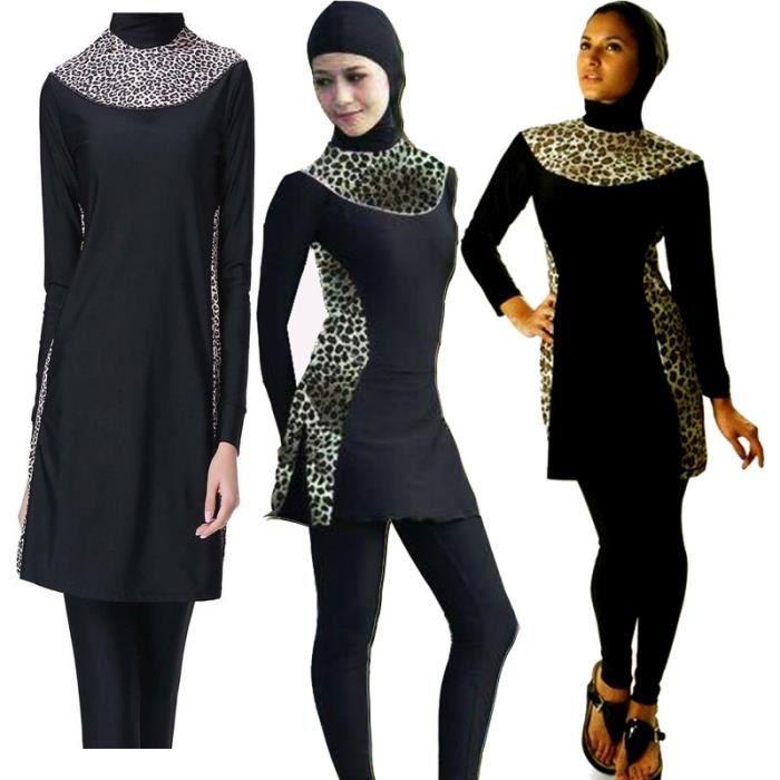 Zencart Maillot De Bain Musulman Imprimé Léopard Maillots De Bain Arabe Islamique Pièces Hijab Maillot De Bain Musulman Burkinis