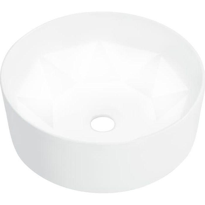 Lavabo Vasque à poser Vasque à trou pour salle de bain36x14 cm Céramique Blanc
