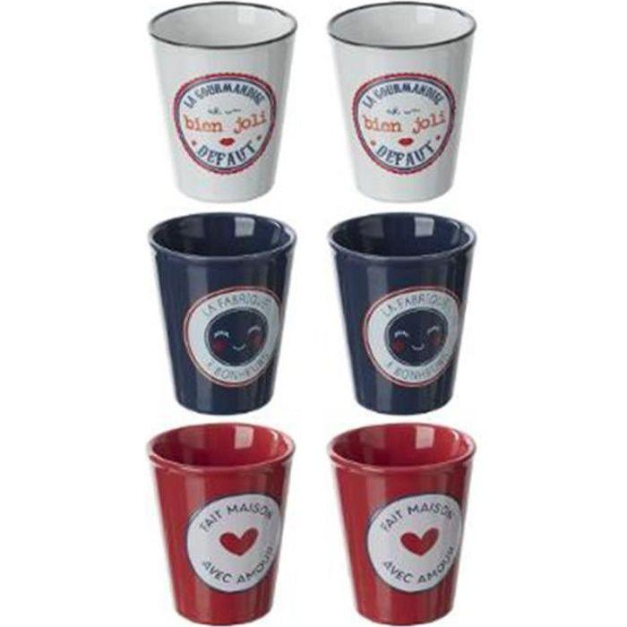 Coffret 6 Tasses -French- 10cl Bleu, Blanc & Rouge