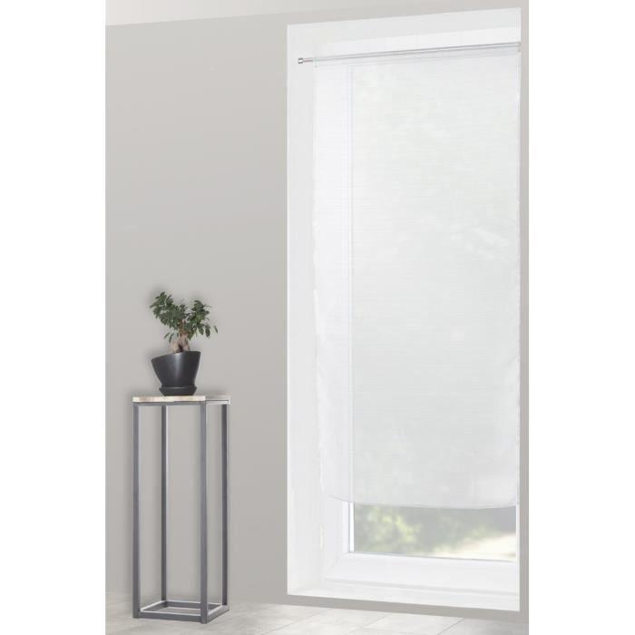 Voilage Vitrage 90 x 190 cm Rayures Horizontales Blanc