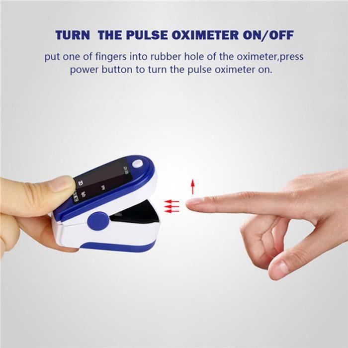 Surveillance de l'oxygène sanguin du bout des doigts de l'oxymètre de pouls avec affichage à LED