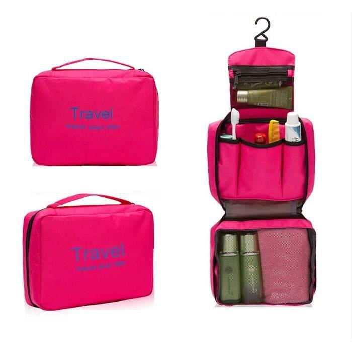 Trousse de Toilette à Suspendre Sac de Voyage Pliable Cosmetiques Maquillage pour Hommes et Femmes Rose Rouge@M4770